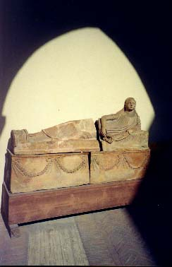 Etruscan sarcophagus from a stone tomb