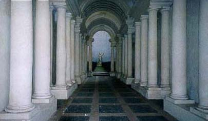 A long hallway of columns...